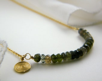 Green tourmaline necklace Natural tourmalin necklace 14K Gold Filled necklace