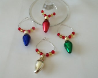 4 pc Christmas Bulb Wine Charm Set