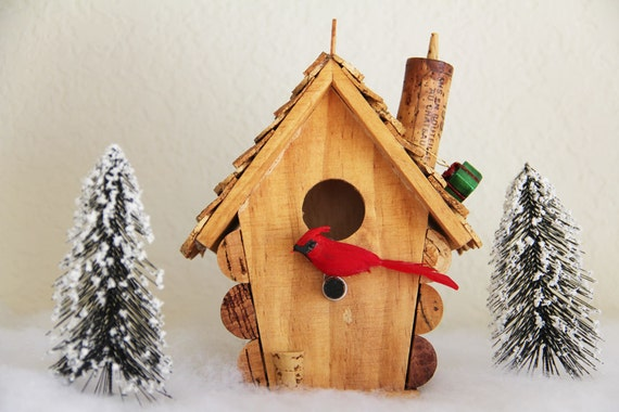 Small Birdhouse, wood and wine corks