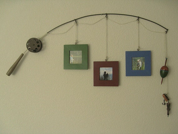 Fishing Photo Frame - Metal Brown - 3 Frames