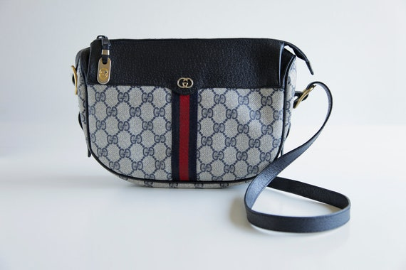 Vintage Authentic GUCCI Navy Monogram Cross-Body Bag with Gold Logo Hardware