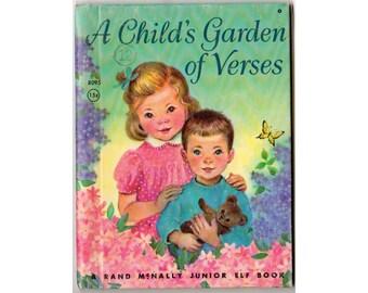 Vintage Childrens Book, A Child's Garden of Verses, 1962 Rand McNally, Hardcover Jr Elf Book 8095, Robert Louis Stevenson Elizabeth Webbe