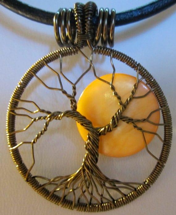 Autumn Full Moon Tree of Life Pendant