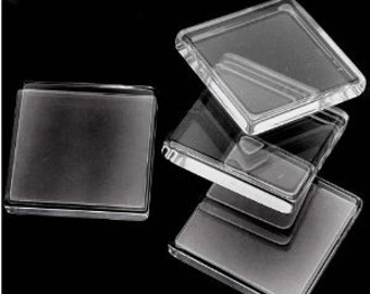 Square Clear Glass 1 inch FLAT tiles Cabochons for pendants, magnets or mosaics ( 25 mm ) 5mm thick