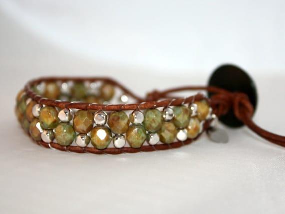 Leather wrap bracelet - beaded wrap bracelet - olive glass beads- chan luu - alternating weave pattern