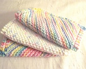 Pretty pastels hand knit facial cloths or kitchen cloths