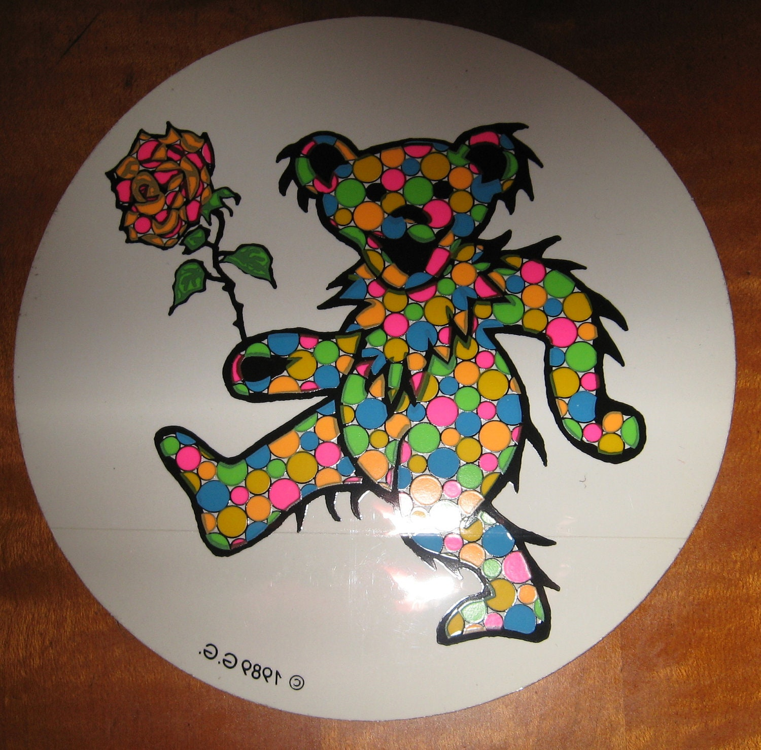 Vintage Grateful Dead Dancing Bear Sticker With Rose Mosaic