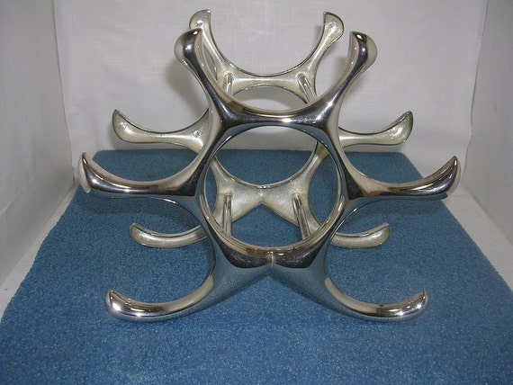Cast aluminum star six bottle wine rack by retrorezurection - Wine rack shaped like wine bottle ...