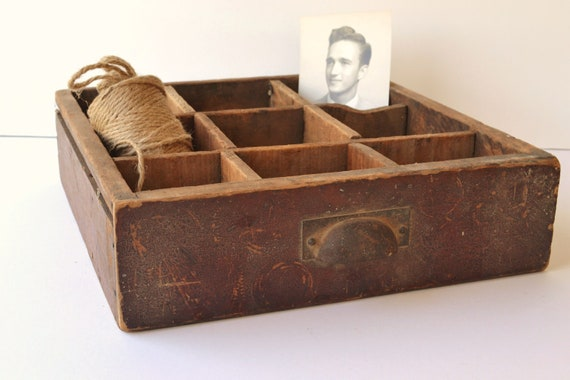 Vintage industrial wood drawer with compartments