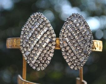 Stunning. Rhinestone Earrings. Signed Les Bernard.