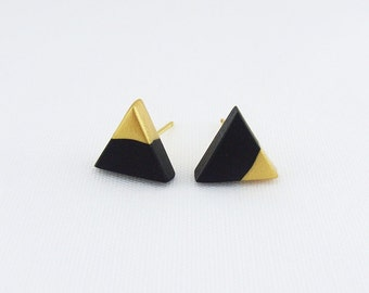 Black - Gold Dipped Triangle Stud Earrings