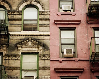New York City apartment photo, NYC living, red green and brown urban decor, windows, balconies, fire escapes, Manhattan