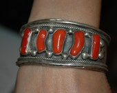 Stunning Old Pawn Navajo Heavy Coral Bracelet - Hallmarked - 91 grams