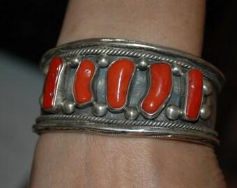 Stunning Old Pawn Navajo Heavy Coral Bracelet - Hallmarked - 91 grams
