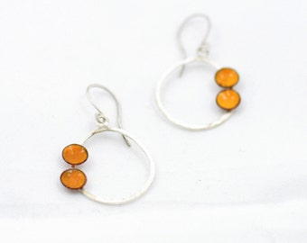 Yellow Enamel Dots on Sterling Silver Hoops