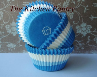 "Cupcake Liners - Baking Cups"" Blue Swirl Cupcakes 50 standard liners"