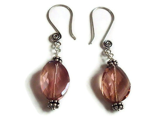 Pretty in Pink - Multi Faceted Shiny Glass Oval Dangle Earrings - Free Shipping in the USA