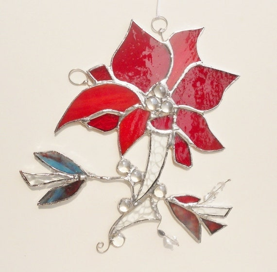 Stained Glass Suncatcher. Abstract Red Lily from Chicago.