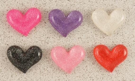 Flirty & cute glitter heart cabochons - 6 piece set (21mm) - MMT
