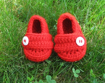 Loafer Booties with Button - Red - Baby Boy - Any Color/Size - Shoes Slippers - Newborn Shower Gift - Knit Crochet
