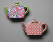 Set of Two Wooden Teapot Magnets