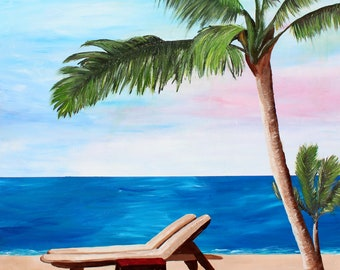 Caribbean Strand with Beach Chairs -fine art print
