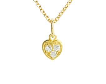 Solid 14K Gold and Diamond Heart Pendant