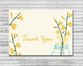 Mason Jar Pastel Flower Thank You card - customized 3.5x5 printable - rustic flower print thank you shower