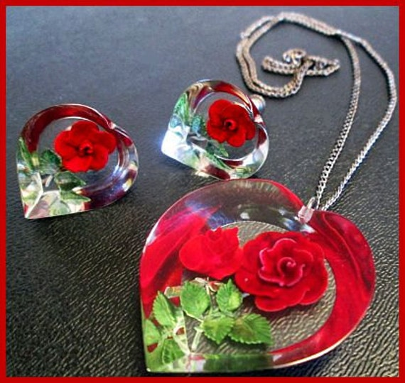 Vintage Red Rose Pendant & Clip On Earring Demi Set Lucite or Resin Silver Chain VG