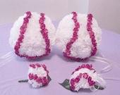 Baseball Theme Wedding Flower Balls / Set of 4 /  Bridesmaid / Corsage / Boutonniere / Brides Bouquet