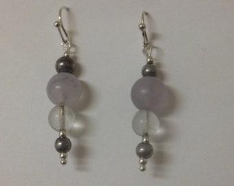 Purple dyed quartz earrings.