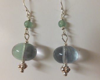 fluorite and aventurine earrings