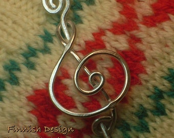 TREBLE CLEF Brooch, Hair Pin or Shawl Pin For Scarf made with Aluminum Wire - For Musicians and Music Lovers
