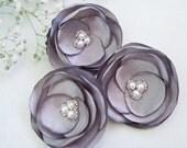 Silver Grey Wedding Hair Flowers (3pcs), Bridesmaids Hair Flowers, Wedding Hair Accessories, Elegant, Classic, Pearls
