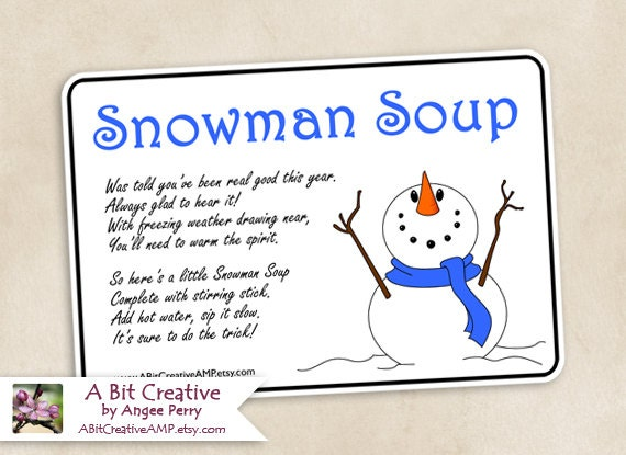 Snowman Soup Winter Hanukkah Christmas Gag Gift Design - DIY Printable