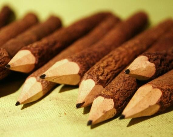 Natural Twig Bark Pencils 7 inches
