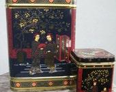 Vintage set Of Hollywood Regency Tea tins Geisha Girls/Cherry Blossom/Crane