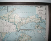 Vintage 1942 Michigan, Massachusetts, Rhode Island  and Connecticut Map
