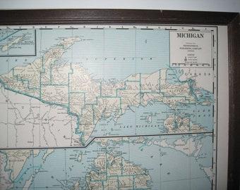Vintage 1942 Michigan, Massachusetts, Rhode Island  and Connecticut Map