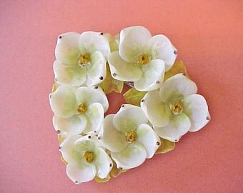 Charming Vintage Triangle Shaped Brooch Made of Little Seashell Flowers