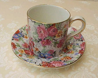 """Beautiful Little Lord Nelson Chintz Demitasse Cup and Saucer in """"Marina"""" Pattern"""