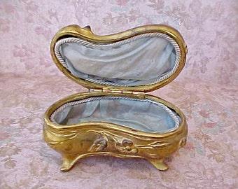 Lovely Art Nouveau Era Jewelry or Trinket Box with Original Aqua Silk Lining