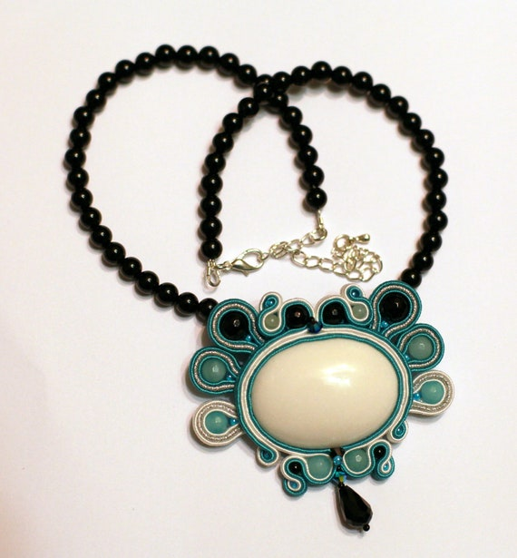 "Reserved for Margery. Soutache brooch (remade to necklace)""Freedom"" with amazonite, onyx, glass beads, jade cabochon, searovski crystals"