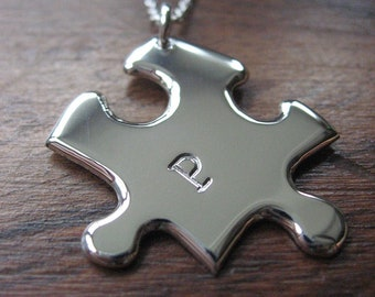 Personalised Silver Jigsaw Puzzle Pendant Necklace