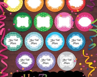 Feast of Colors - Digital EDITABLE Printable 2 Inch Circles / Labels / Food Buffet Labels by nahhan73 (EC-001)