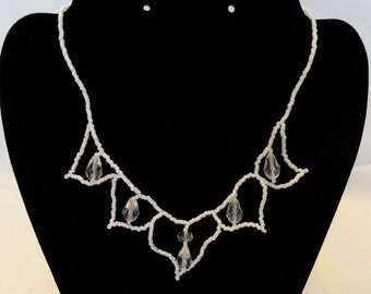 Crystal and Pearlized White Lotus Blossom Necklace