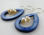 Pearl Dangle Earrings with Double White Freshwater Pearls