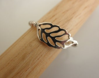 Carved Leaf sterling  silver ball  ring