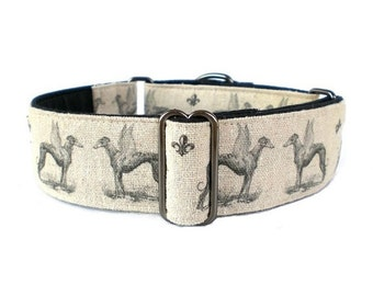 Winged Greyhounds Martingale Dog Collar - 1.5-inch Adjustable Antique Graphic and Linen Greyhound Collar, Greyhound Martingale