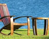 Wine Barrel Adirondack Chair (red, burgundy, natural oak, stainless steel)
